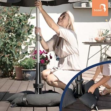 Baser Sonnenschirmständer mit befüllbarer Sandsäcken 30 kg/40 kg/50 kg. Alternativ zum Granit Sonnenschirmständer mit Rollen. Befüllbar Sonnenschirm Schirmständer mit Tragegriff (50 KG, Dunkelbraun) - 4