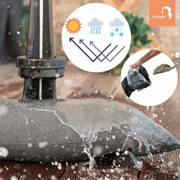 Baser Sonnenschirmständer mit befüllbarer Sandsäcken 30 kg/40 kg/50 kg. Alternativ zum Granit Sonnenschirmständer mit Rollen. Befüllbar Sonnenschirm Schirmständer mit Tragegriff (50 KG, Dunkelbraun) - 5