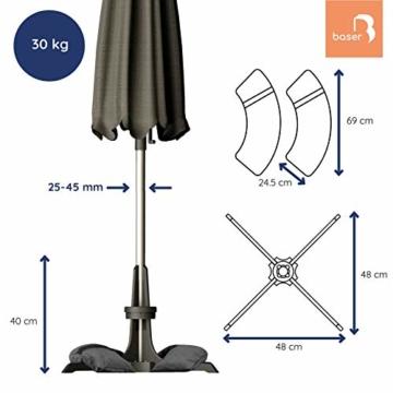 Baser Sonnenschirmständer mit befüllbarer Sandsäcken 30 kg/40 kg/50 kg. Alternativ zum Granit Sonnenschirmständer mit Rollen. Befüllbar Sonnenschirm Schirmständer mit Tragegriff (30 KG, Dunkelgrau) - 4