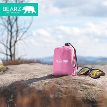 BEARZ Outdoor Kompakte Picknickdecke - Stranddecke, wasserdichte Decke für Ausflüge, Leichte Camping Regenplane, Musikfestival Ausrüstung, Matte für Wandern, Sport & Strand. Mit eigenem Beutel (Rosa) - 3