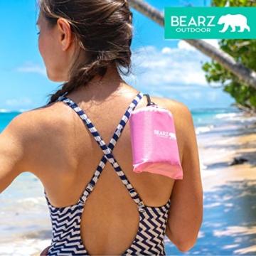 BEARZ Outdoor Kompakte Picknickdecke - Stranddecke, wasserdichte Decke für Ausflüge, Leichte Camping Regenplane, Musikfestival Ausrüstung, Matte für Wandern, Sport & Strand. Mit eigenem Beutel (Rosa) - 5