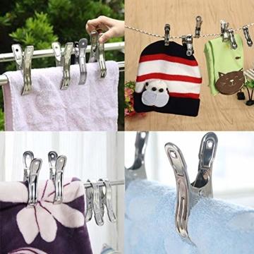 BETOY Edelstahl Strandtuch Clips, 12 Stück Wäscheklammern aus Edelstahl Strandtuch-Klammern Groß Windbeständig für Tägliche Wäsche, Strandtuch, Badetuch - 6