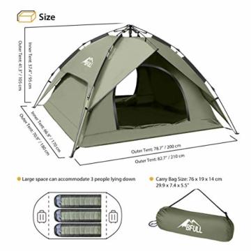BFULL Instant Pop Up Camping Zelte für 2-3 Personen Familie, Kuppelzelte Wasserdicht Sonnenschutz Backpacking Wurfzelte Schnell Set-up für Camping Wandern Outdoor Aktivitäten - 4