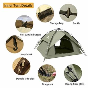 BFULL Instant Pop Up Camping Zelte für 2-3 Personen Familie, Kuppelzelte Wasserdicht Sonnenschutz Backpacking Wurfzelte Schnell Set-up für Camping Wandern Outdoor Aktivitäten - 7
