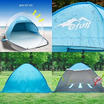 Bfull Strandmuschel mit Einer Abschließbaren Tür und UV 50 Sonnenschutz für 2-4 Personen Pop Up Strandzelt Extra Leicht Wurfzelt - 4