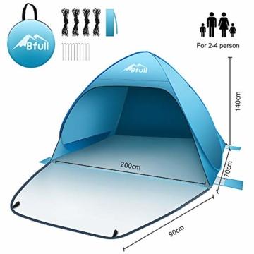 Bfull Strandmuschel mit Einer Abschließbaren Tür und UV 50 Sonnenschutz für 2-4 Personen Pop Up Strandzelt Extra Leicht Wurfzelt - 8