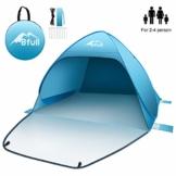 Bfull Strandmuschel mit Einer Abschließbaren Tür und UV 50 Sonnenschutz für 2-4 Personen Pop Up Strandzelt Extra Leicht Wurfzelt - 1