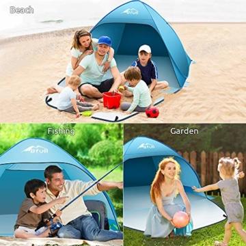 Bfull Strandmuschel mit Einer Abschließbaren Tür und UV 50 Sonnenschutz für 2-4 Personen Pop Up Strandzelt Extra Leicht Wurfzelt - 2