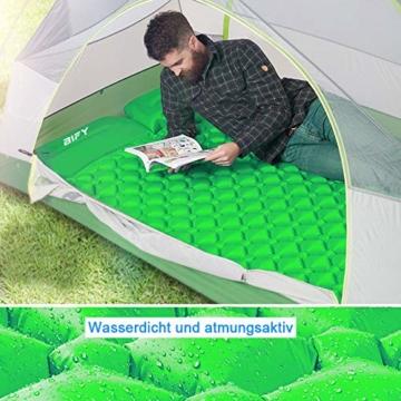 BIFY Isomatte Camping Schlafmatte Ultraleicht Kleines Packmaß. Aufblasbare Luftmatratze für Outdoor Camping, Reise,Trekking und Backpacking (Grün mit Kissen) - 2