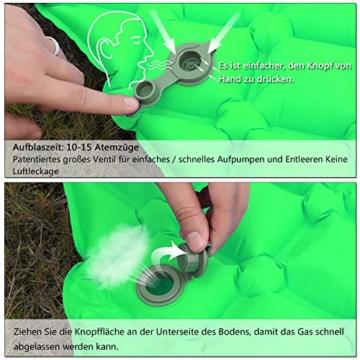 BIFY Isomatte Camping Schlafmatte Ultraleicht Kleines Packmaß. Aufblasbare Luftmatratze für Outdoor Camping, Reise,Trekking und Backpacking (Grün mit Kissen) - 3