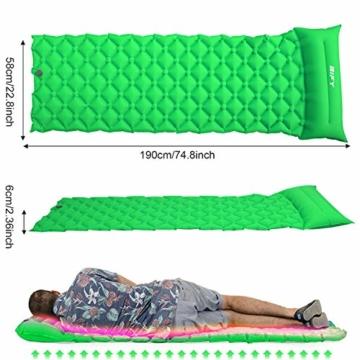 BIFY Isomatte Camping Schlafmatte Ultraleicht Kleines Packmaß. Aufblasbare Luftmatratze für Outdoor Camping, Reise,Trekking und Backpacking (Grün mit Kissen) - 4