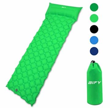 BIFY Isomatte Camping Schlafmatte Ultraleicht Kleines Packmaß. Aufblasbare Luftmatratze für Outdoor Camping, Reise,Trekking und Backpacking (Grün mit Kissen) - 1