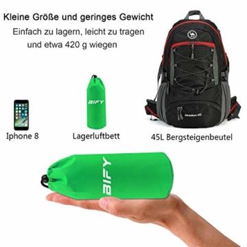 BIFY Isomatte Camping Schlafmatte Ultraleicht Kleines Packmaß. Aufblasbare Luftmatratze für Outdoor Camping, Reise,Trekking und Backpacking (Grün mit Kissen) - 5