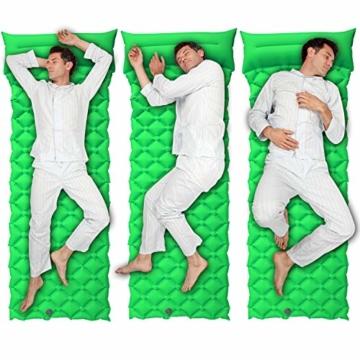 BIFY Isomatte Camping Schlafmatte Ultraleicht Kleines Packmaß. Aufblasbare Luftmatratze für Outdoor Camping, Reise,Trekking und Backpacking (Grün mit Kissen) - 6