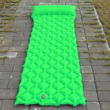 BIFY Isomatte Camping Schlafmatte Ultraleicht Kleines Packmaß. Aufblasbare Luftmatratze für Outdoor Camping, Reise,Trekking und Backpacking (Grün mit Kissen) - 8