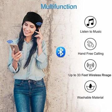 Bluetooth Beanie Mütze, Lukasa Wireless Bluetooth 5.0 Strickmütze Musik Braid Cap Winter Warme Hüte mit Stereo-Lautsprecher für Outdoor-Sport, Skifahren, Laufen, Skaten - 4