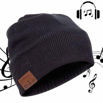 Bluetooth Beanie Mütze, Lukasa Wireless Bluetooth 5.0 Strickmütze Musik Braid Cap Winter Warme Hüte mit Stereo-Lautsprecher für Outdoor-Sport, Skifahren, Laufen, Skaten - 1