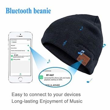 Bluetooth Beanie Mütze, Lukasa Wireless Bluetooth 5.0 Strickmütze Musik Braid Cap Winter Warme Hüte mit Stereo-Lautsprecher für Outdoor-Sport, Skifahren, Laufen, Skaten - 5
