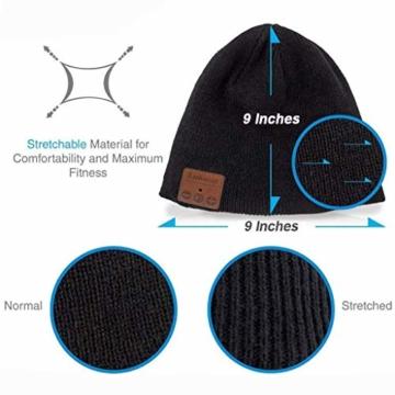 Bluetooth Beanie Mütze, Lukasa Wireless Bluetooth 5.0 Strickmütze Musik Braid Cap Winter Warme Hüte mit Stereo-Lautsprecher für Outdoor-Sport, Skifahren, Laufen, Skaten - 6