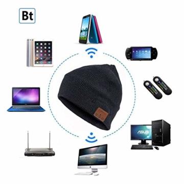 Bluetooth Beanie Mütze, Lukasa Wireless Bluetooth 5.0 Strickmütze Musik Braid Cap Winter Warme Hüte mit Stereo-Lautsprecher für Outdoor-Sport, Skifahren, Laufen, Skaten - 7