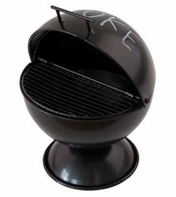 Boltze Sturm-Aschenbecher Kugelgrill-Design für Außenbereich - Mit Grillrost-Einlage und Sockel - Aufklappbar mit großem Fassungsvermögen - Ideal für Raucher und als Dekoration, auch für die Wohnung - 3