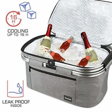 bomoe Kühltasche Picknickkorb faltbar IceBreezer K47 - Outdoor Kühlbox für unterwegs - 47x27x26 cm - 32 Liter - Auch als Picknicktasche nutzbar - Perfekt fürs Grillen oder Festival - 5