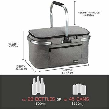 bomoe Kühltasche Picknickkorb faltbar IceBreezer K47 - Outdoor Kühlbox für unterwegs - 47x27x26 cm - 32 Liter - Auch als Picknicktasche nutzbar - Perfekt fürs Grillen oder Festival - 6