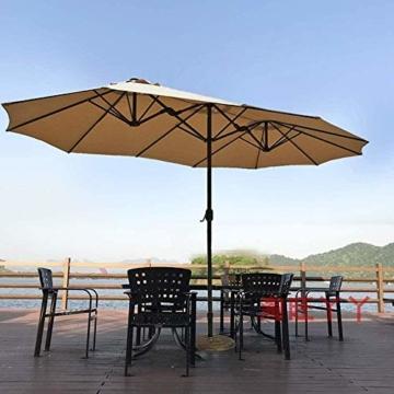 Briefkästen Sonnenschirme Sonnenschirm, Sonnenschirm Doppelsonnenschirme Terrasse Balkon/mit Kurbel, for Strand/Garten/Terrasse/Pavillon - ohne Grund (Color : Dark Beige) - 3