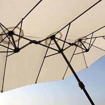 Briefkästen Sonnenschirme Sonnenschirm, Sonnenschirm Doppelsonnenschirme Terrasse Balkon/mit Kurbel, for Strand/Garten/Terrasse/Pavillon - ohne Grund (Color : Dark Beige) - 4