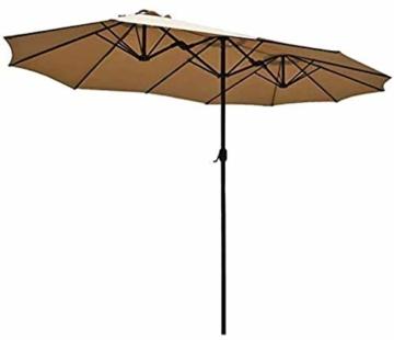 Briefkästen Sonnenschirme Sonnenschirm, Sonnenschirm Doppelsonnenschirme Terrasse Balkon/mit Kurbel, for Strand/Garten/Terrasse/Pavillon - ohne Grund (Color : Dark Beige) - 1