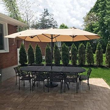 Briefkästen Sonnenschirme Sonnenschirm, Sonnenschirm Doppelsonnenschirme Terrasse Balkon/mit Kurbel, for Strand/Garten/Terrasse/Pavillon - ohne Grund (Color : Dark Beige) - 7