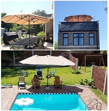 Briefkästen Sonnenschirme Sonnenschirm, Sonnenschirm Doppelsonnenschirme Terrasse Balkon/mit Kurbel, for Strand/Garten/Terrasse/Pavillon - ohne Grund (Color : Dark Beige) - 8