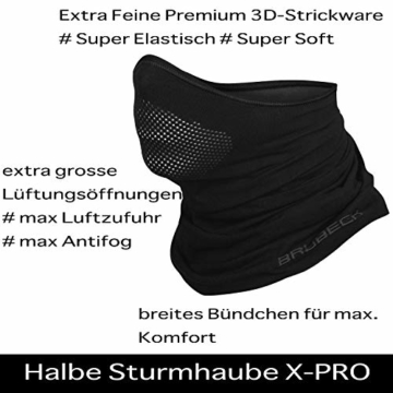 BRUBECK® X-Pro halbe klimaoaktive Gesichtsmaske Sturmhaube Sturmmaske, Größen: L/XL; Farbe: X-Pro / Black - 3