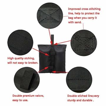 CACTIYE Gewichtssäcke für strapazierfähige Premium Instant Shelters Pavillon Sandsack Zelt Bein Gewicht Tasche für Pop Up Baldachin Zelt Gewichtete Füße Tasche (6, schwarz) - 2