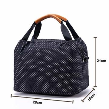 CALIYO Lunchtasche Kühltasche klein Isoliertasche wassedicht Lunchbag mit Reißverschluss Thermotasche faltbar für Arbeit, Schule und unterwegs 9 Liter (Schwarz) - 2