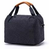 CALIYO Lunchtasche Kühltasche klein Isoliertasche wassedicht Lunchbag mit Reißverschluss Thermotasche faltbar für Arbeit, Schule und unterwegs 9 Liter (Schwarz) - 1