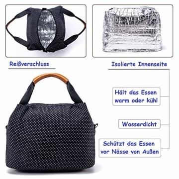 CALIYO Lunchtasche Kühltasche klein Isoliertasche wassedicht Lunchbag mit Reißverschluss Thermotasche faltbar für Arbeit, Schule und unterwegs 9 Liter (Schwarz) - 3