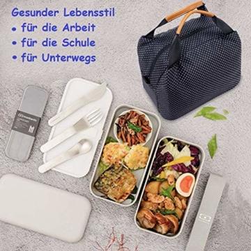 CALIYO Lunchtasche Kühltasche klein Isoliertasche wassedicht Lunchbag mit Reißverschluss Thermotasche faltbar für Arbeit, Schule und unterwegs 9 Liter (Schwarz) - 5