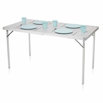 Campart Campingtisch/ Reisetisch - 94/127 x 70 cm wetterbeständige Rolltischfläche aus Aluminium/ erweiterbare Tischplatte, TA-0808 - 2