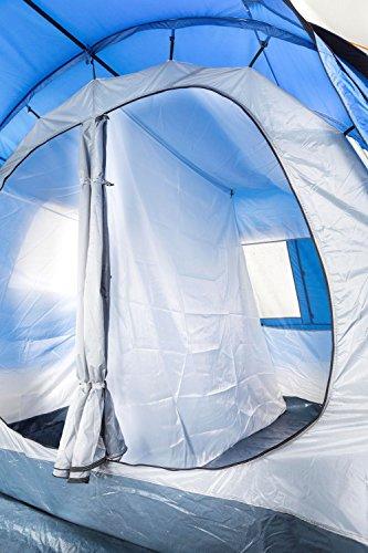CampFeuer Campingzelt für 4 Personen | Großes Familienzelt mit 3 Eingängen und 2.000 mm Wassersäule | Tunnelzelt | blau/grau | Gruppenzelt | So Macht Camping Spaß! - 2