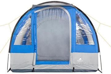 CampFeuer Campingzelt für 4 Personen | Großes Familienzelt mit 3 Eingängen und 2.000 mm Wassersäule | Tunnelzelt | blau/grau | Gruppenzelt | So Macht Camping Spaß! - 4