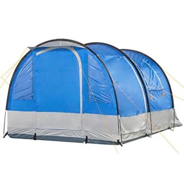 CampFeuer Campingzelt für 4 Personen | Großes Familienzelt mit 3 Eingängen und 2.000 mm Wassersäule | Tunnelzelt | blau/grau | Gruppenzelt | So Macht Camping Spaß! - 5