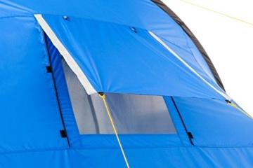 CampFeuer Campingzelt für 4 Personen | Großes Familienzelt mit 3 Eingängen und 2.000 mm Wassersäule | Tunnelzelt | blau/grau | Gruppenzelt | So Macht Camping Spaß! - 7