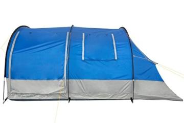 CampFeuer Campingzelt für 4 Personen | Großes Familienzelt mit 3 Eingängen und 2.000 mm Wassersäule | Tunnelzelt | blau/grau | Gruppenzelt | So Macht Camping Spaß! - 8