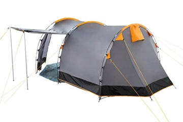 CampFeuer Tunnelzelt für 4 Personen | Großes Familienzelt mit 2 Eingängen und 3.000 mm Wassersäule | Gruppenzelt | grau | Campingzelt | So Macht Camping Spaß! - 2