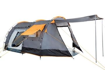CampFeuer Tunnelzelt für 4 Personen | Großes Familienzelt mit 2 Eingängen und 3.000 mm Wassersäule | Gruppenzelt | grau | Campingzelt | So Macht Camping Spaß! - 4