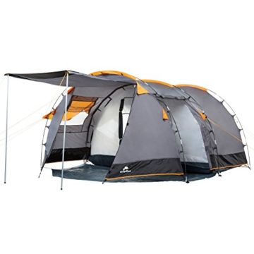 CampFeuer Tunnelzelt für 4 Personen | Großes Familienzelt mit 2 Eingängen und 3.000 mm Wassersäule | Gruppenzelt | grau | Campingzelt | So Macht Camping Spaß! - 1