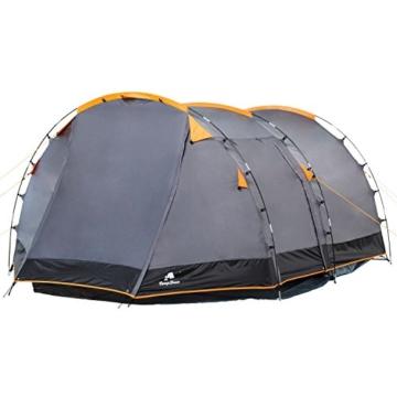 CampFeuer Tunnelzelt für 4 Personen | Großes Familienzelt mit 2 Eingängen und 3.000 mm Wassersäule | Gruppenzelt | grau | Campingzelt | So Macht Camping Spaß! - 5