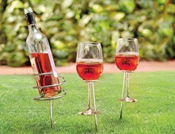 Camping Picknick Spiral Spike Weinflasche und Glas Halter - Submergible Cooler - 1