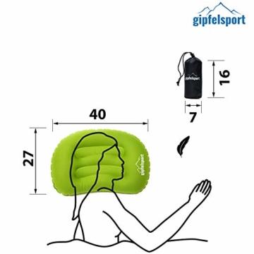 Campingkissen - Reisekissen I Aufblasbares Kissen für die Reise oder Camping I Grün I ohne Bezug - 4